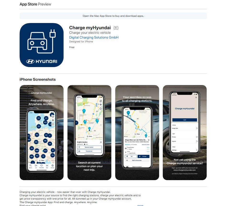 Charge myHyundai app